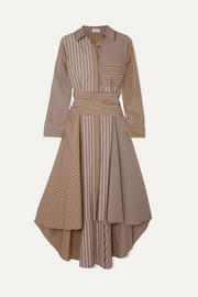 Asymmetric striped cotton-poplin dress