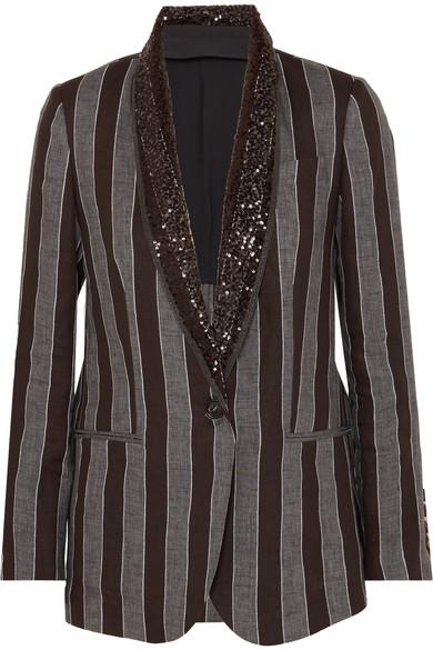 BRUNELLO CUCINELLI | Brunello Cucinelli - Sequin-embellished Striped Linen Blazer - Black | Goxip