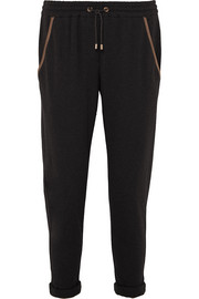 Satin-trimmed bead-embellished cotton-blend jersey track pants