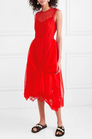 Simone Rocha Dresses Asymmetric gathered tulle midi dress