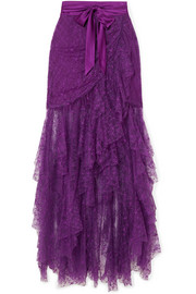 Satin-trimmed ruffled lace maxi skirt