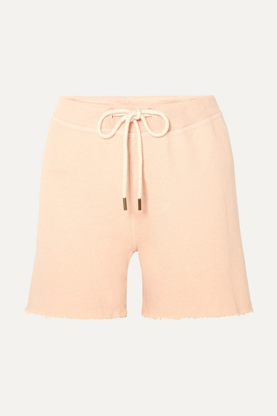 The Great Shorts THE SWEAT FRAYED COTTON-JERSEY SHORTS