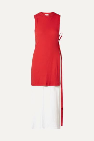 Rosetta Getty Dresses Layered two-tone cotton-jersey midi dress