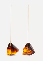 Crystallized gold-tone and tortoiseshell resin earrings