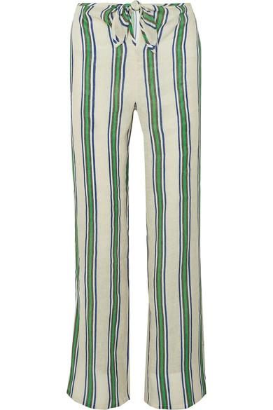 Tory Burch Linens Awning striped linen-gauze wide-leg pants