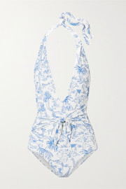 Tory Burch Tie-detailed printed halterneck swimsuit