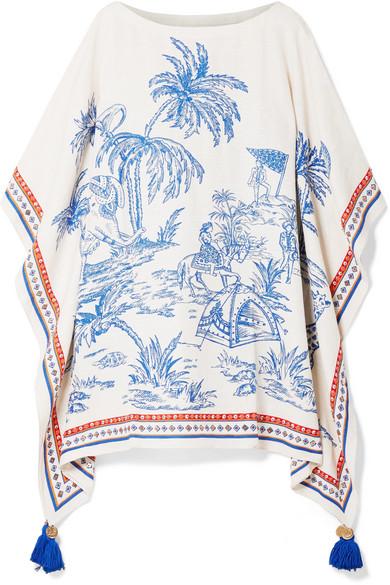 Tory Burch Beachwear Tasseled embellished printed silk and linen-blend kaftan