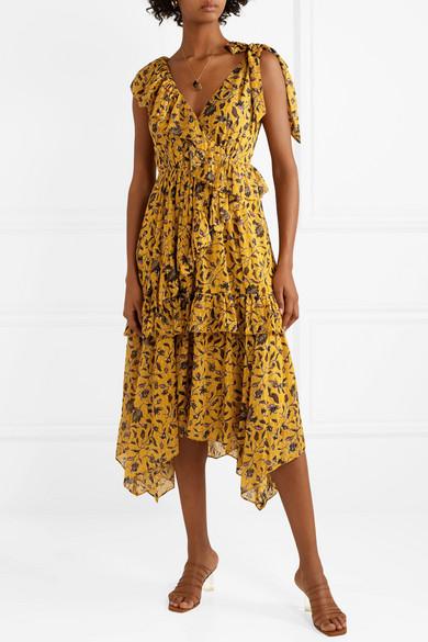 Ulla Johnson Dresses Dania ruffled floral-print silk, cotton and Lurex-blend midi dress