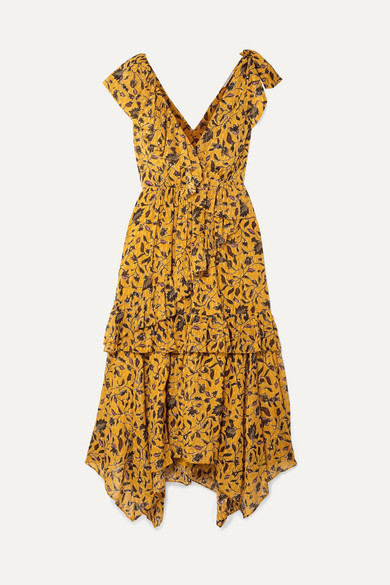 e39e700aeedc Ulla Johnson | Dania ruffled floral-print silk, cotton and Lurex-blend midi  dress | NET-A-PORTER.COM