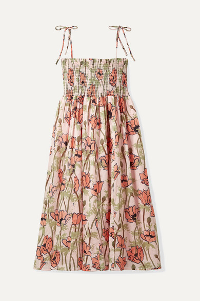 TORY BURCH | Tory Burch - Smocked Floral-Print Cotton-Voile Midi Dress - Pink | Goxip