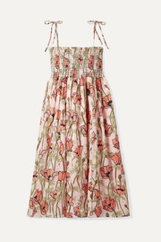 Tory Burch Smocked floral-print cotton-voile midi dress