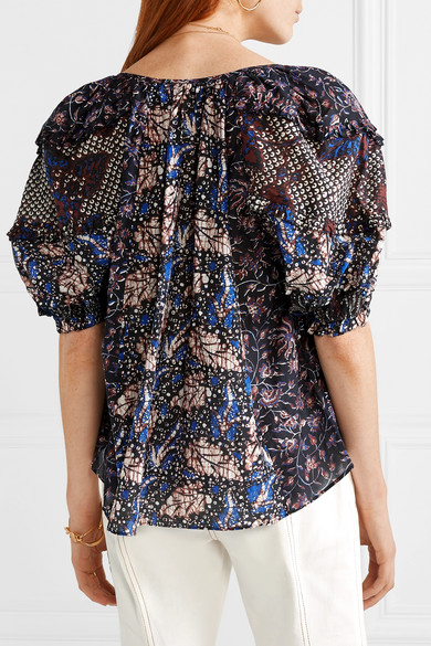 Ulla Johnson Tops Arusi printed cotton and silk-blend blouse