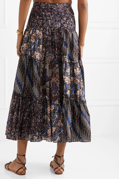 Ulla Johnson Skirts Asilia printed cotton and silk-blend maxi skirt