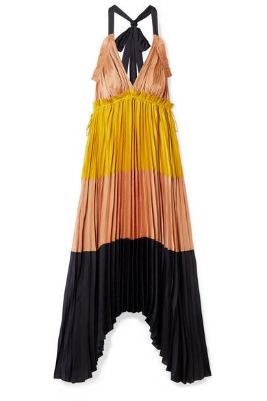 Ulla Johnson Dresses Gisella pleated color-block satin maxi dress