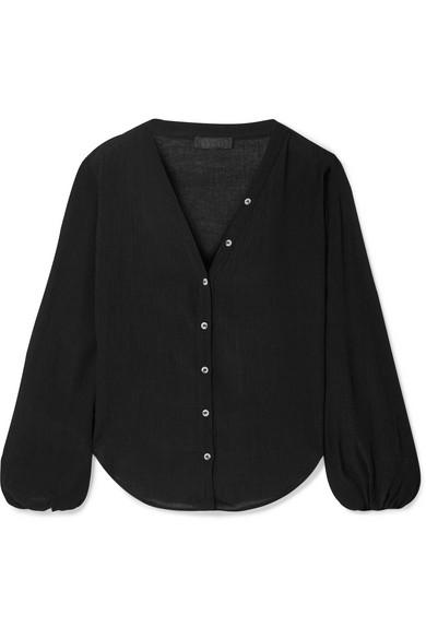 THE RANGE | The Range - Vapor Crinkled-Voile Shirt - Black | Goxip