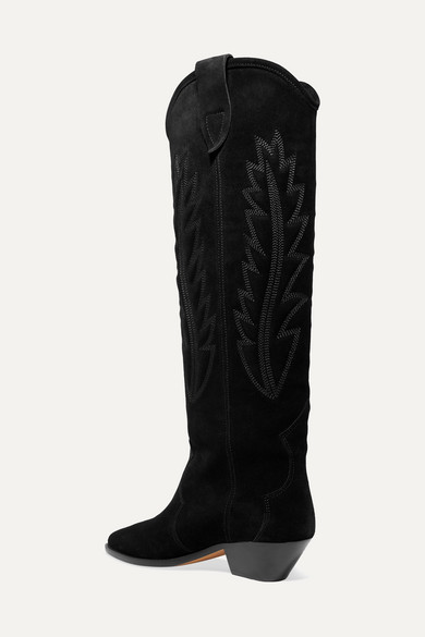 Isabel Marant Boots Denzy embroidered suede knee boots
