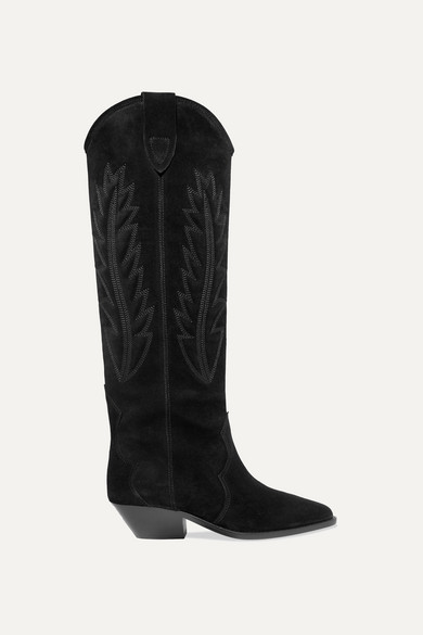 Isabel Marant Denzy Embroidered Suede Knee Boots In Black