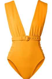 Belted ruched stretch-piqué swimsuit