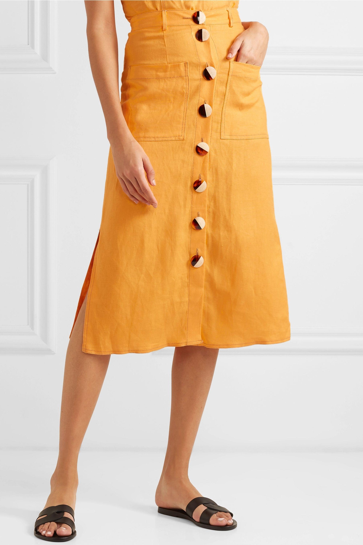 NICHOLAS Button-embellished linen midi skirt