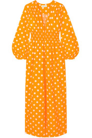 Smocked polka-dot cotton and silk-blend maxi dress