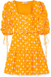 Belted ruched polka-dot cotton and silk-blend voile mini dress