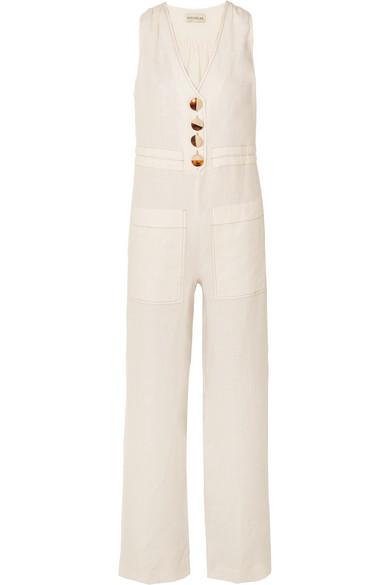NICHOLAS | Nicholas - Button-embellished Linen Jumpsuit - White | Goxip