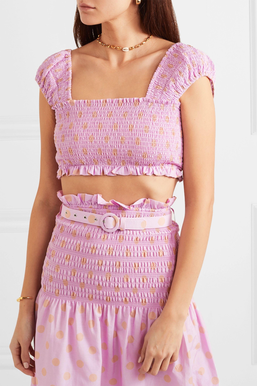 NICHOLAS Cropped shirred polka-dot cotton and silk-blend top