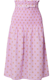 Belted shirred polka-dot cotton and silk-blend midi skirt