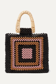 Amaya beaded and wicker tote