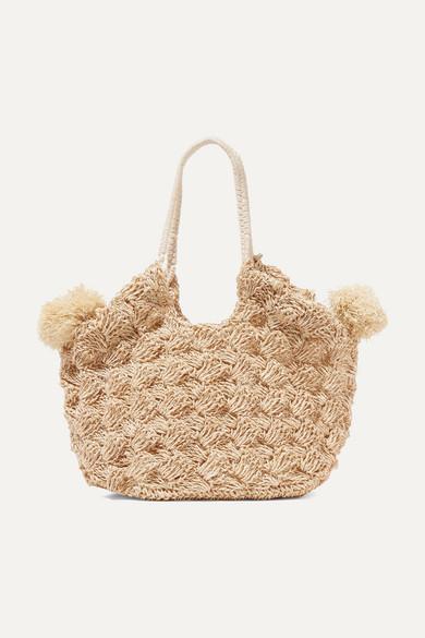 Ulla Johnson Lalo mini pompom-embellished straw tote