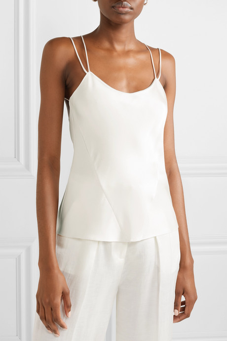 Cage open-back silk-charmeuse camisole