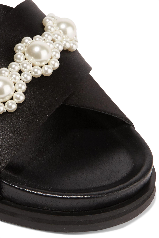 Simone Rocha Faux pearl-embellished satin slides