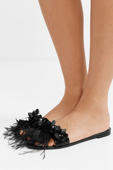 Simone Rocha Slippers Bead and feather-embellished PVC slides