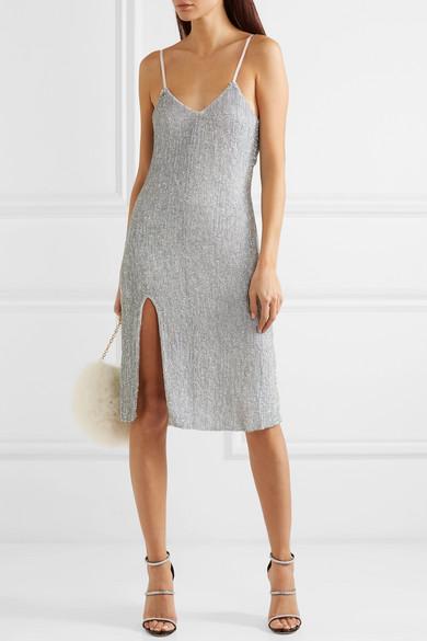 Sequined Tulle Midi com Dress Net Retrofête Porter Denisa A awFgqHCv