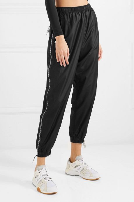 Crystal-embellished shell track pants