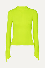 Adam Selman Sport Neon ribbed-knit turtleneck top