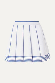 Pleated striped knitted mini skirt
