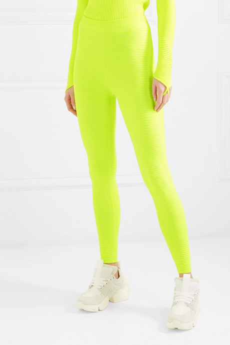 Neon ribbed-knit leggings