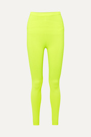 Adam Selman Sport Neon ribbed-knit leggings