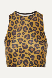 Adam Selman Sport Racer cropped leopard-print stretch top