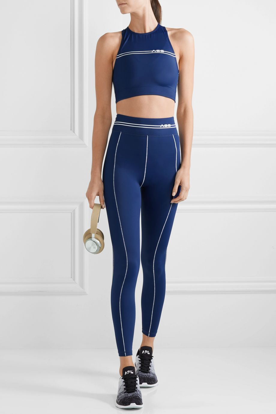 Adam Selman Sport Racer cropped printed stretch top