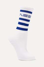 Printed ribbed cotton-blend socks