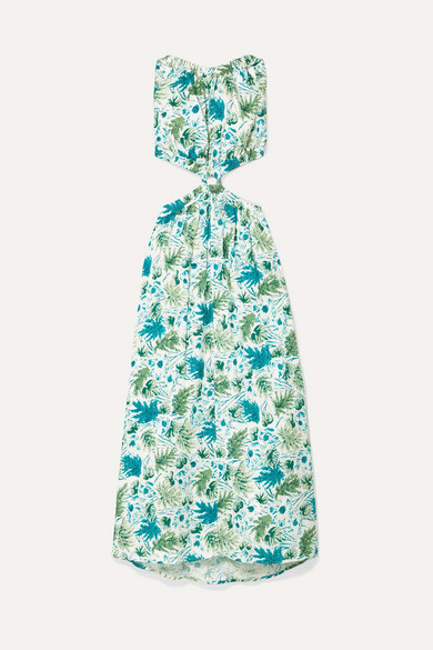 Cult Gaia Dresses Theia cutout printed linen maxi dress