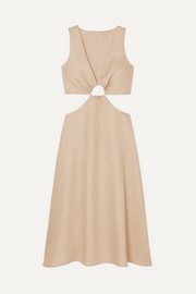 Cybele cutout cotton and linen-blend dress