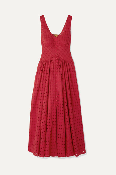 Cult Gaia Dresses Angela buckled broderie anglaise cotton midi dress