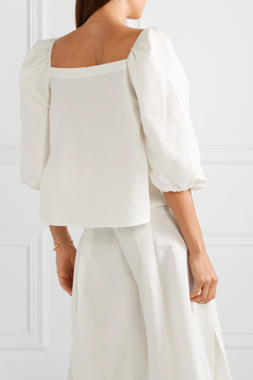 Cult Gaia Aurel lace-up cotton and linen-blend blouse