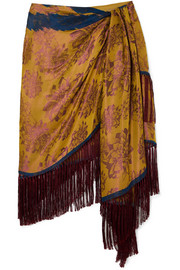 Oscar de la Renta Wrap-effect fringed silk-jacquard mini skirt