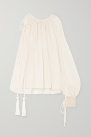 Oscar de la Renta One-shoulder tasseled cotton-voile top