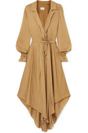 Wrap-effect belted silk-satin dress