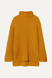 Oversized wool, silk and cashmere-blend turtleneck sweater